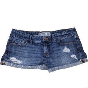 VS PINK Cuffed Denim Distressed Short Shorts 4